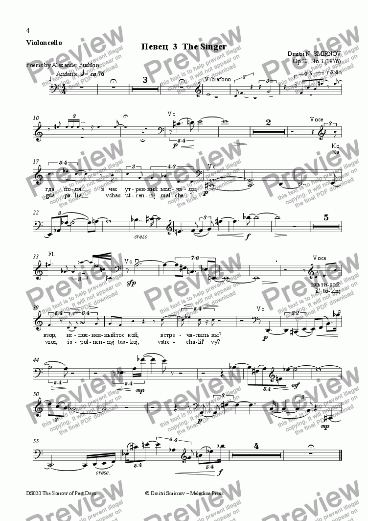 page one of the Cello part from SORROW OF PAST DAYS (Pushkin) op20/3. Singer. Voice, fl, perc, vln, vc