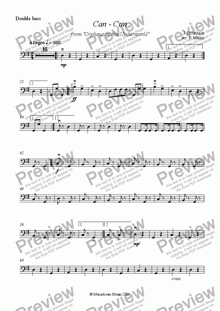 page one of the Bass part from Can-Can - String Quartet/Orchestra