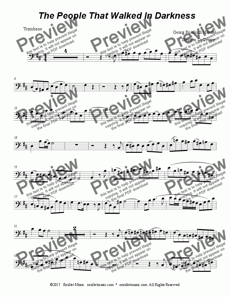 page one of the pdarkens part from The People That Walked In Darkness (for Trombone Solo)
