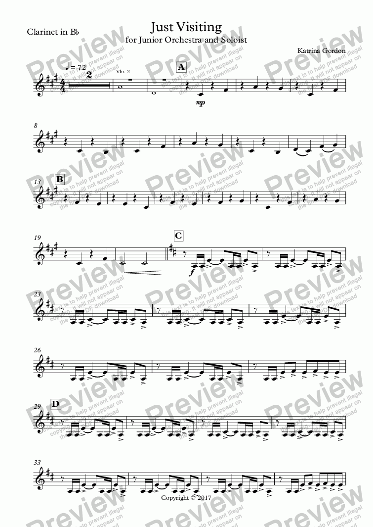 page one of the Clarinet in B^b part from Just Visiting