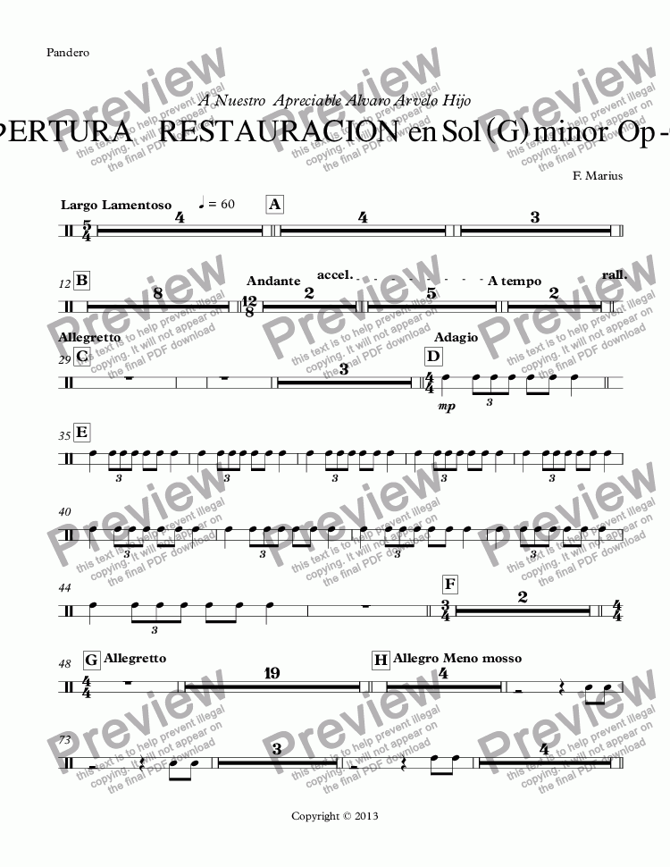 page one of the Pandero part from ObERTURA      RESTAURACION  en Sol (G) minor  Op -06