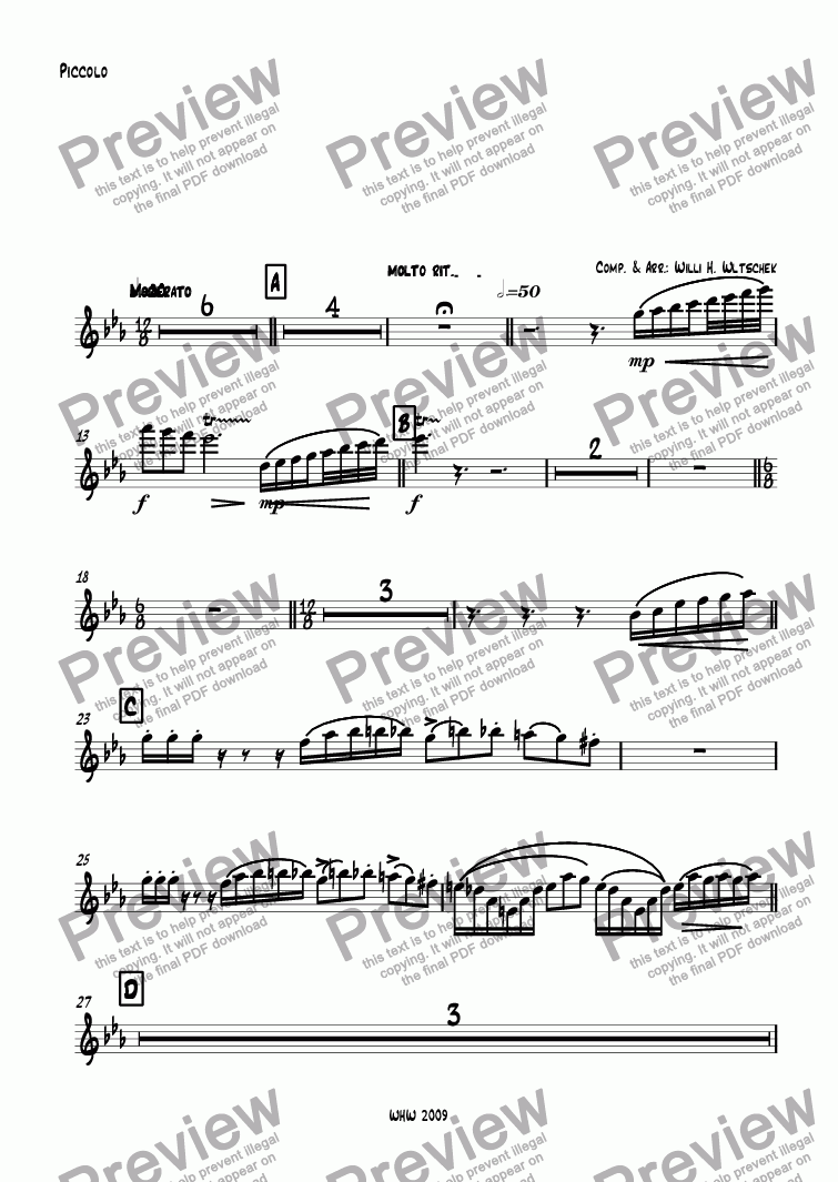 page one of the Piccolo part from M A S Q U E R A D E ( Maskerade ) Fantasie in 4 Sätzen für großes Blasorchester 1. GUARETINO - Großmeister aller Masken