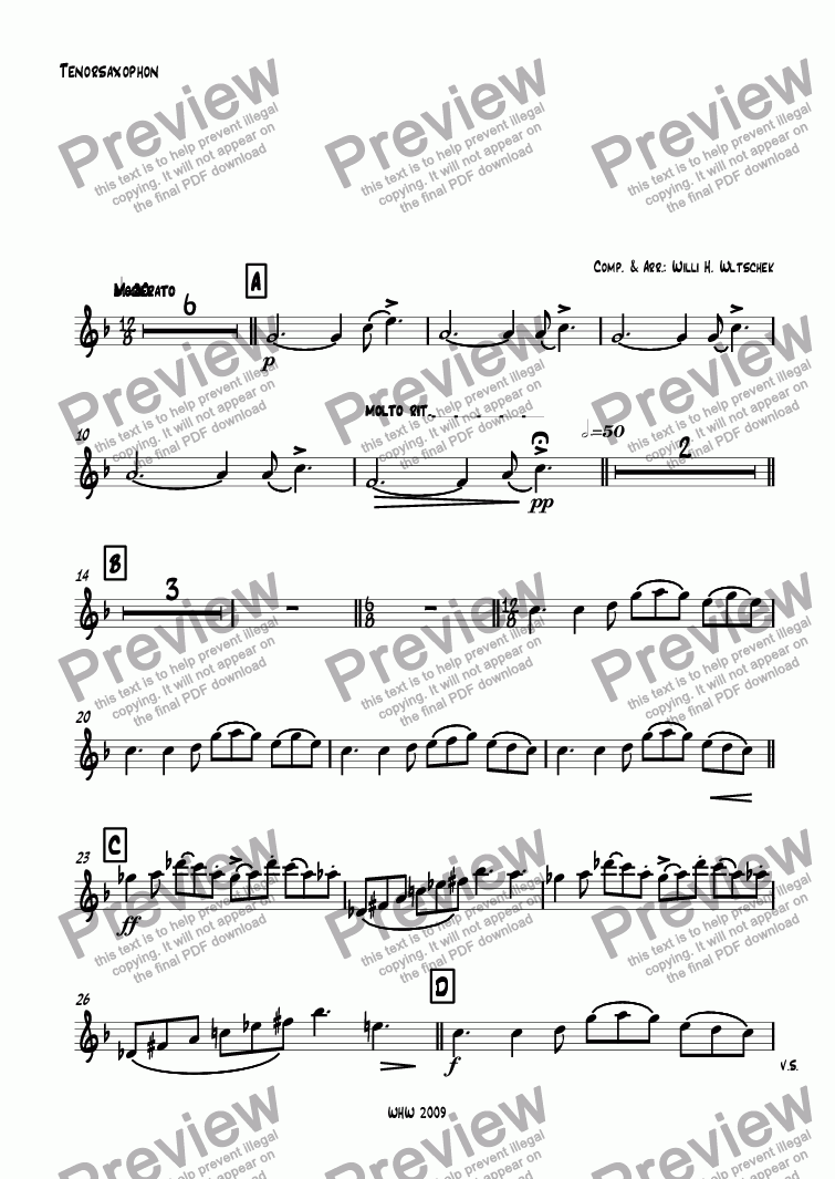 page one of the Tenorsaxophon part from M A S Q U E R A D E ( Maskerade ) Fantasie in 4 Sätzen für großes Blasorchester 1. GUARETINO - Großmeister aller Masken