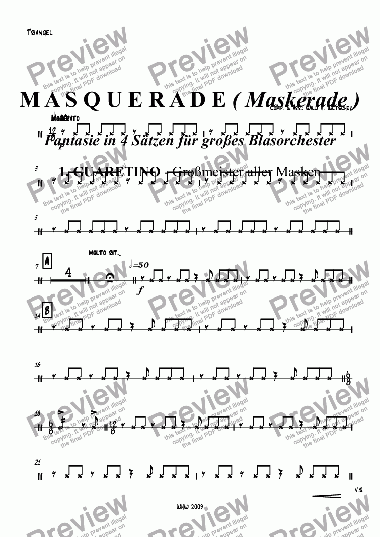 page one of the Triangel part from M A S Q U E R A D E ( Maskerade ) Fantasie in 4 Sätzen für großes Blasorchester 1. GUARETINO - Großmeister aller Masken