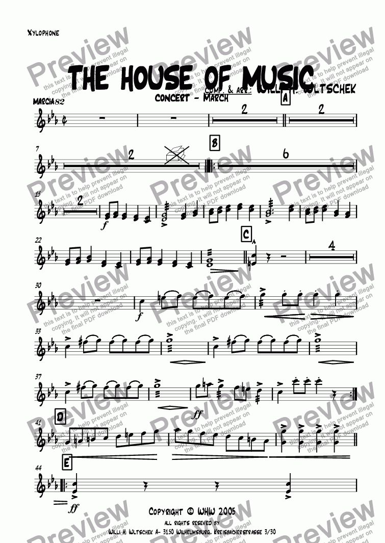 page one of the Xylophone part from THE HOUSE OF MUSIC