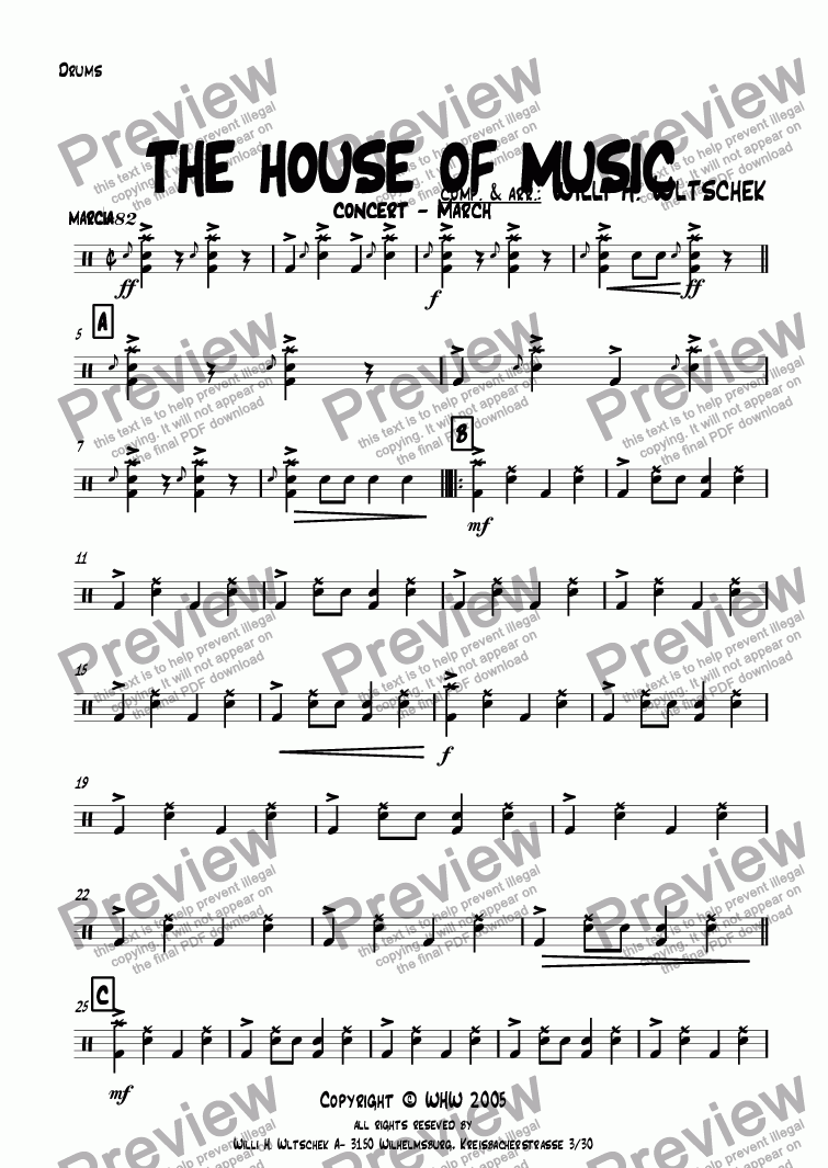 page one of the Drums part from THE HOUSE OF MUSIC