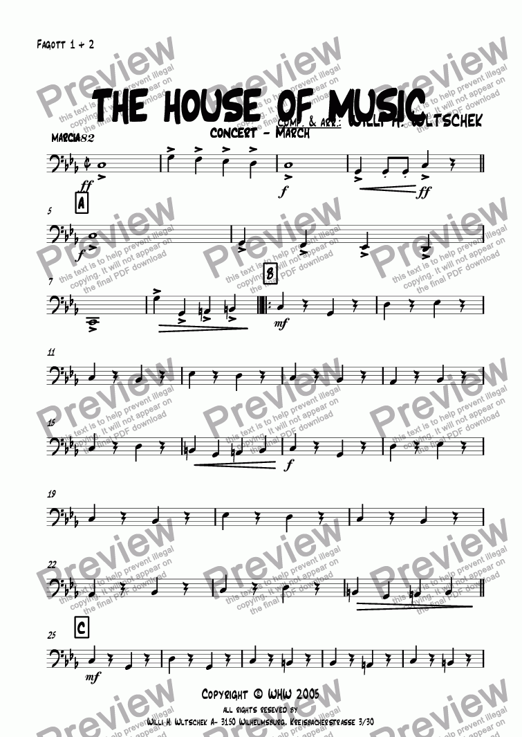 page one of the Fagott 1 + 2 part from THE HOUSE OF MUSIC