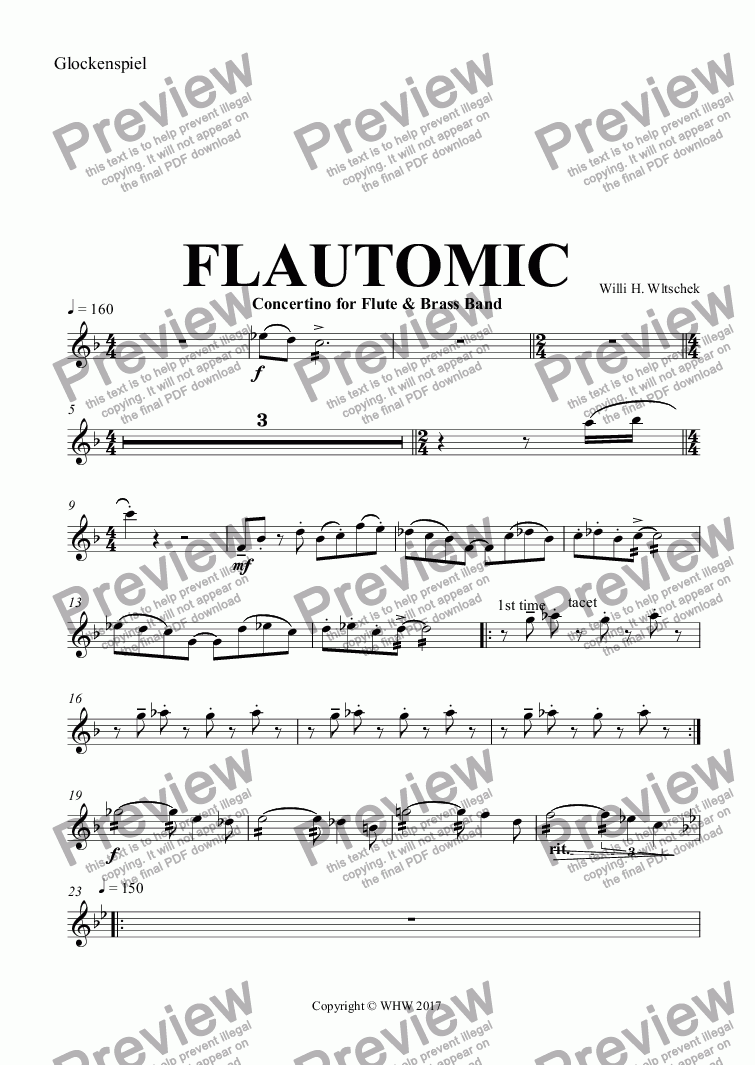 page one of the Glockenspiel part from FLAUTOMIC