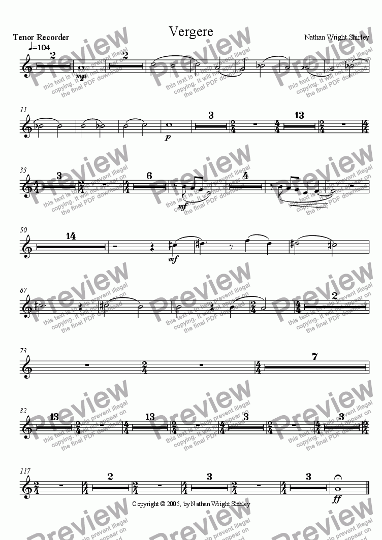 page one of the Tenor Recorder part from Vergere
