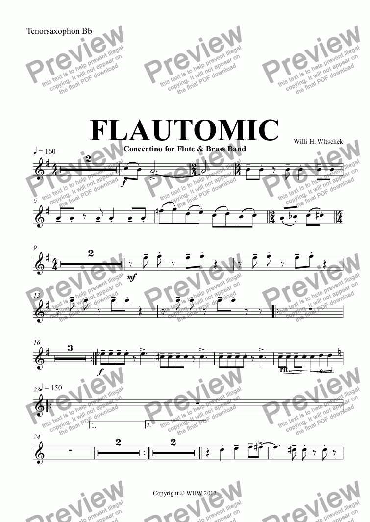 page one of the Tenorsaxophon Bb part from FLAUTOMIC