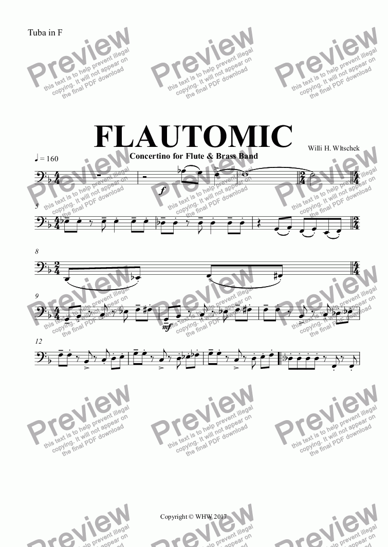 page one of the Tuba in F part from FLAUTOMIC