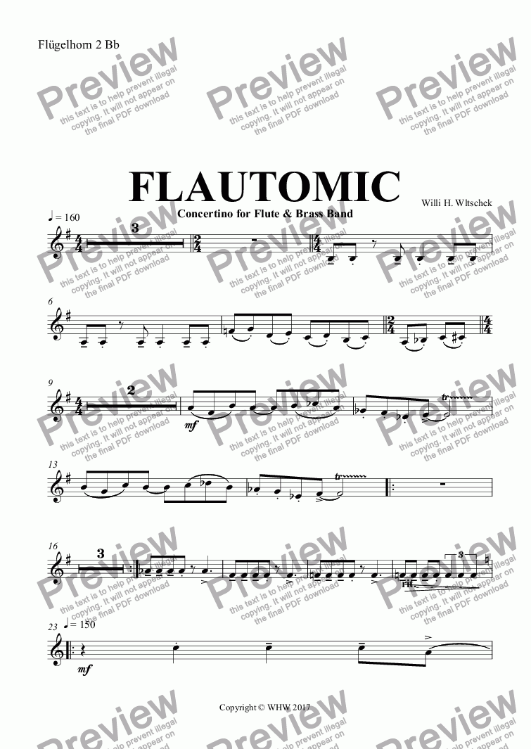 page one of the Flügelhorn 2 Bb part from FLAUTOMIC