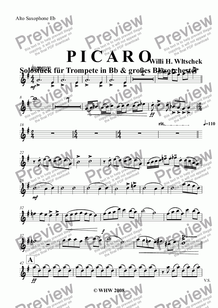 page one of the Alto Saxophone Eb part from P I C A R O Solostück für Trompete in Bb & großes Blasorchester