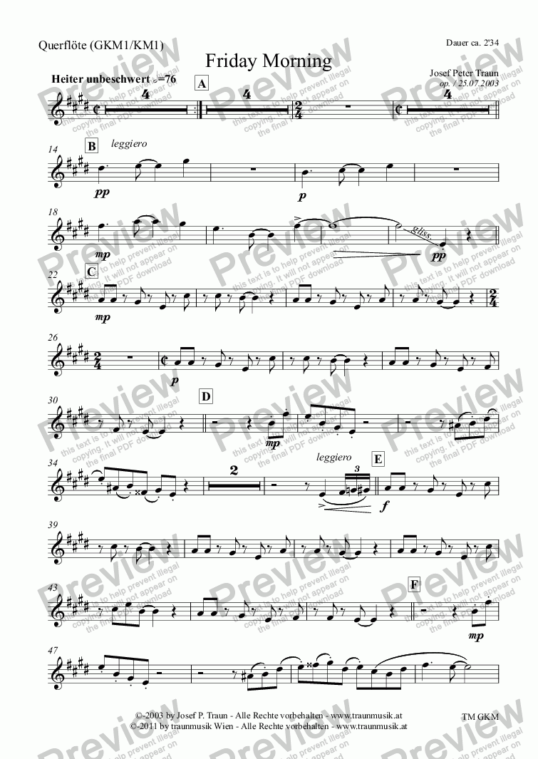 page one of the Querflöte (KM1) part from Friday Morning (KM/Score & Parts)