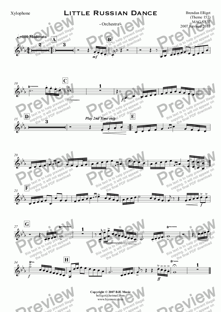 page one of the Xylophone part from Little Russian Dance - Orchestra