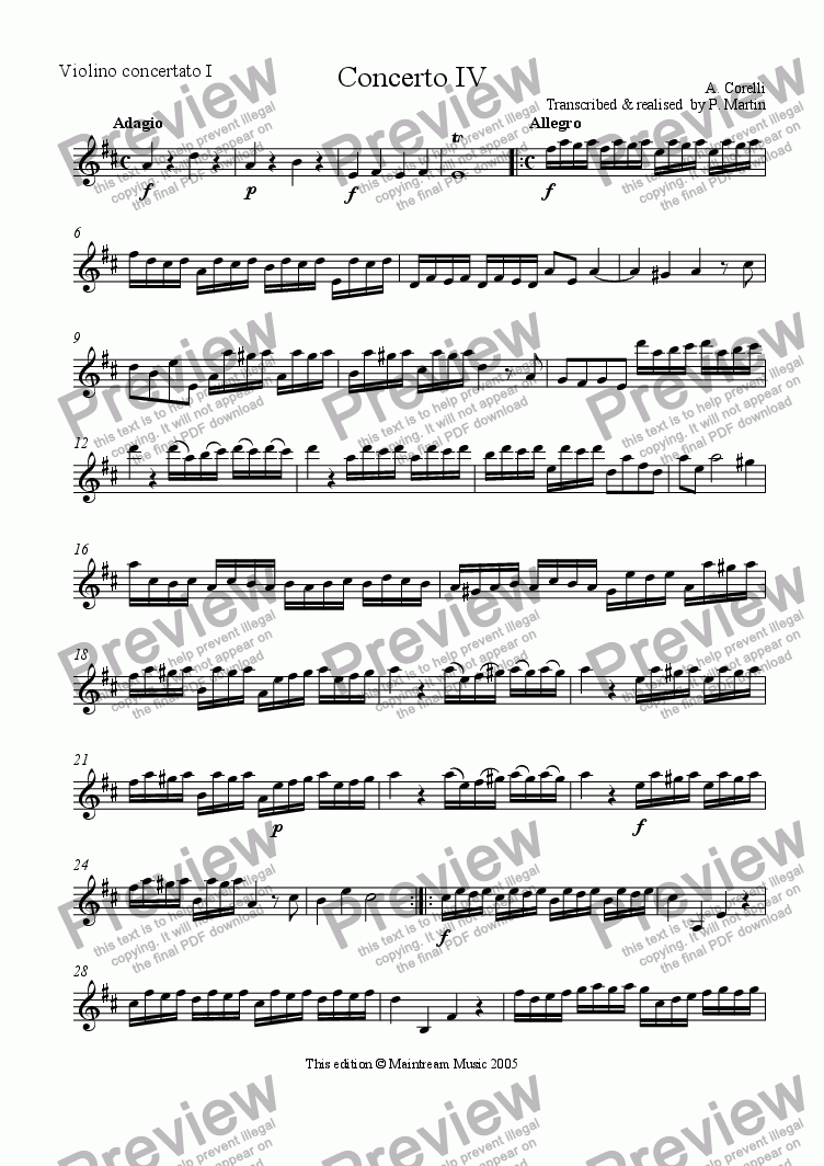 page one of the Violin Concertato I part from Concerto IV