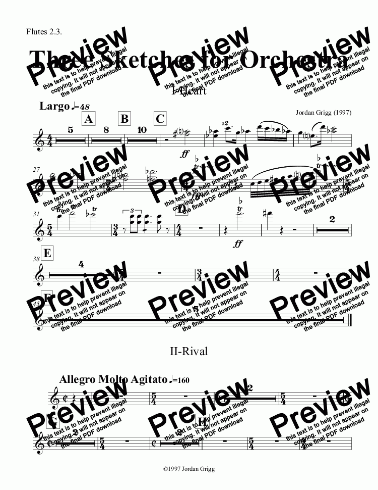 page one of the Flutes 2.3. part from Three Sketches for Orchestra