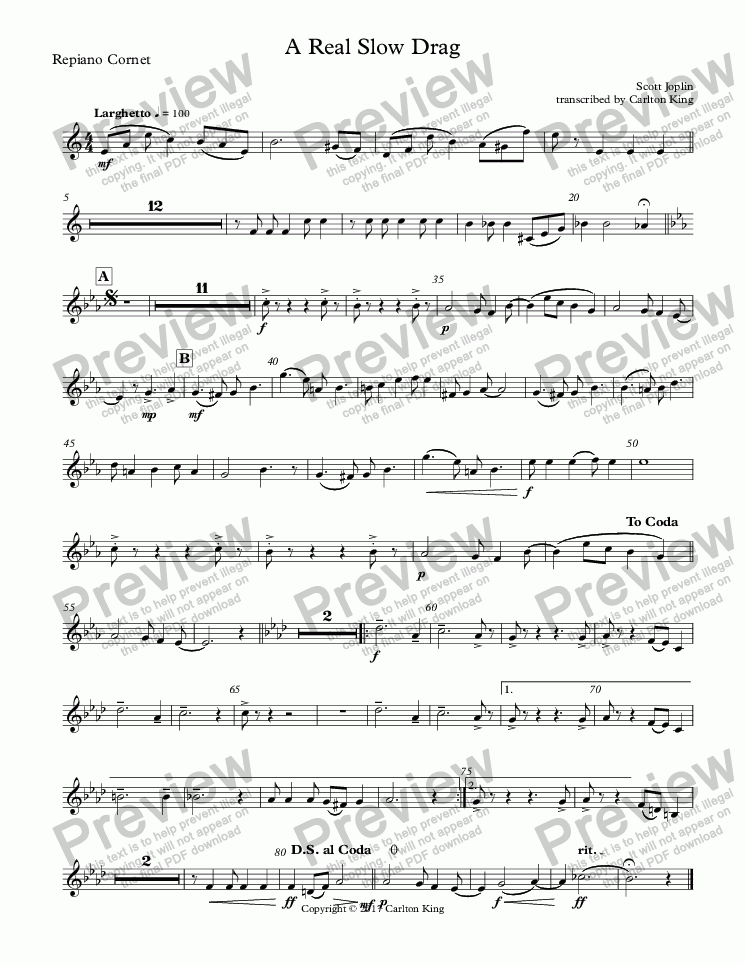 page one of the Repiano Cornet part from A Real Slow Drag