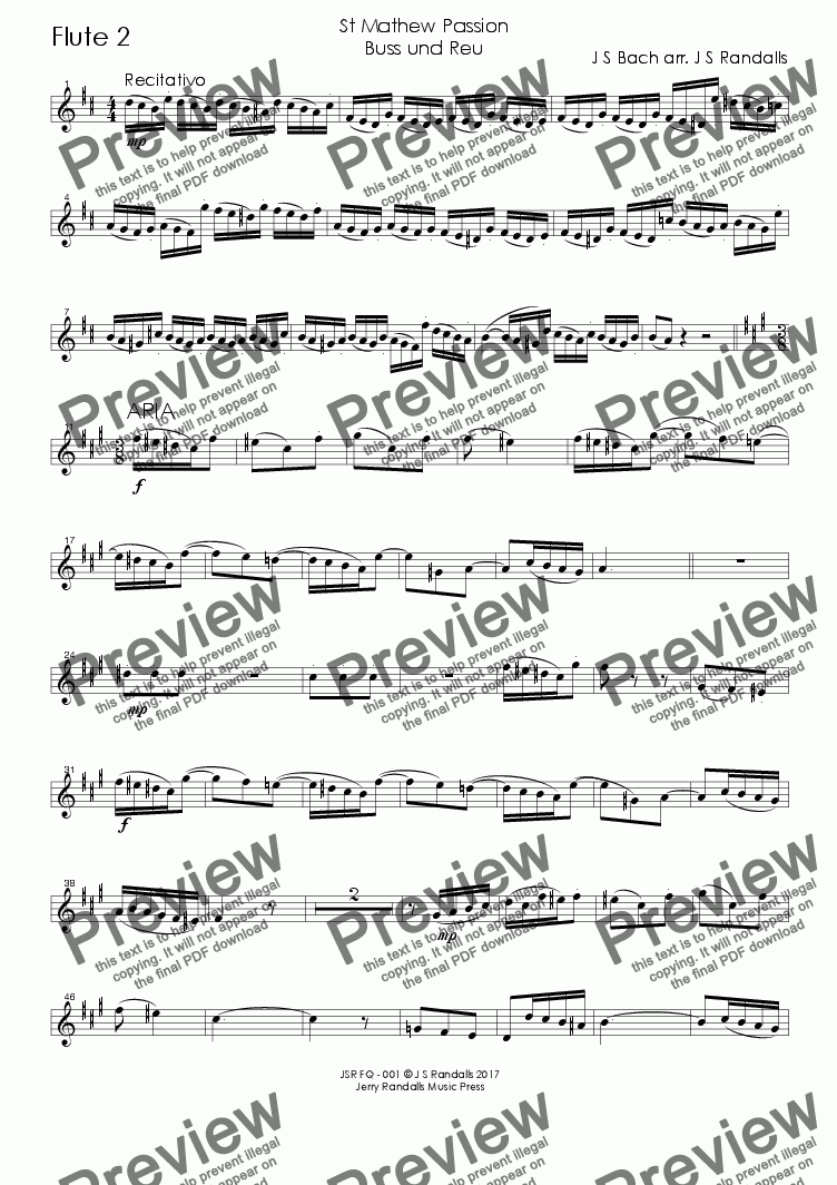 page one of the Bach Buss und Reu FQ - 002 Flute 2 part from Bach Buss ind Reu from the St Mathew Passion for Flute Quartet