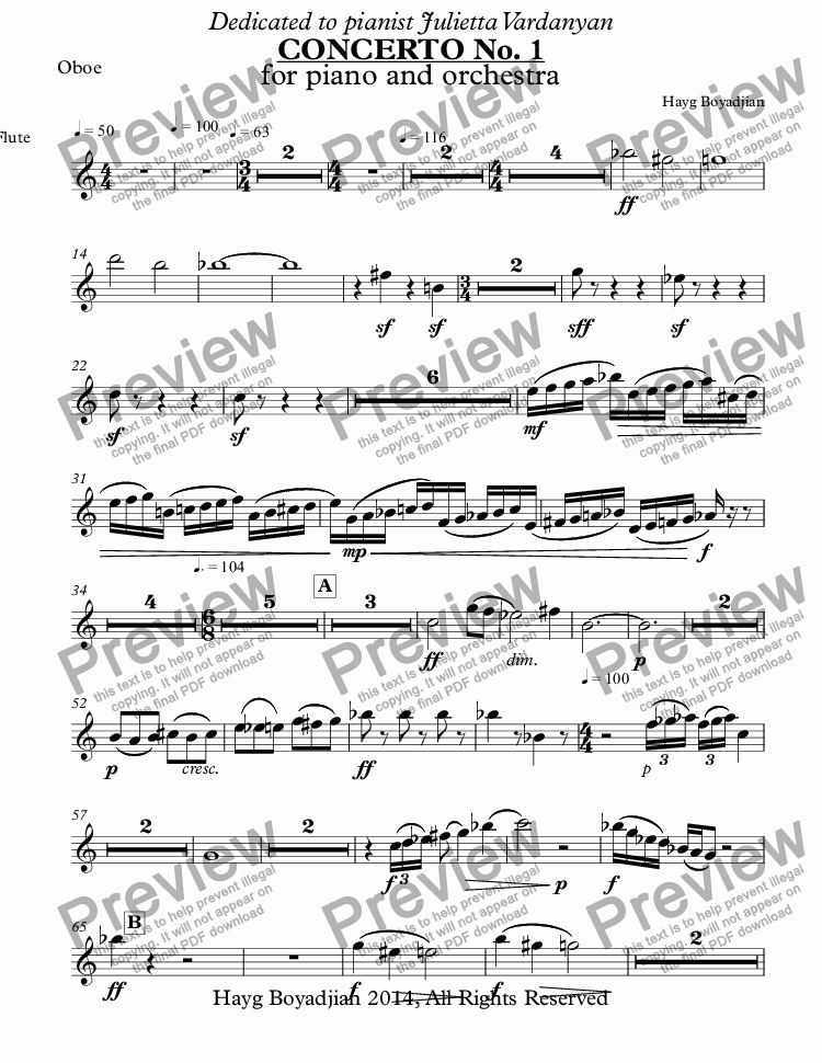 page one of the Oboe part from CONCERTO No. 1