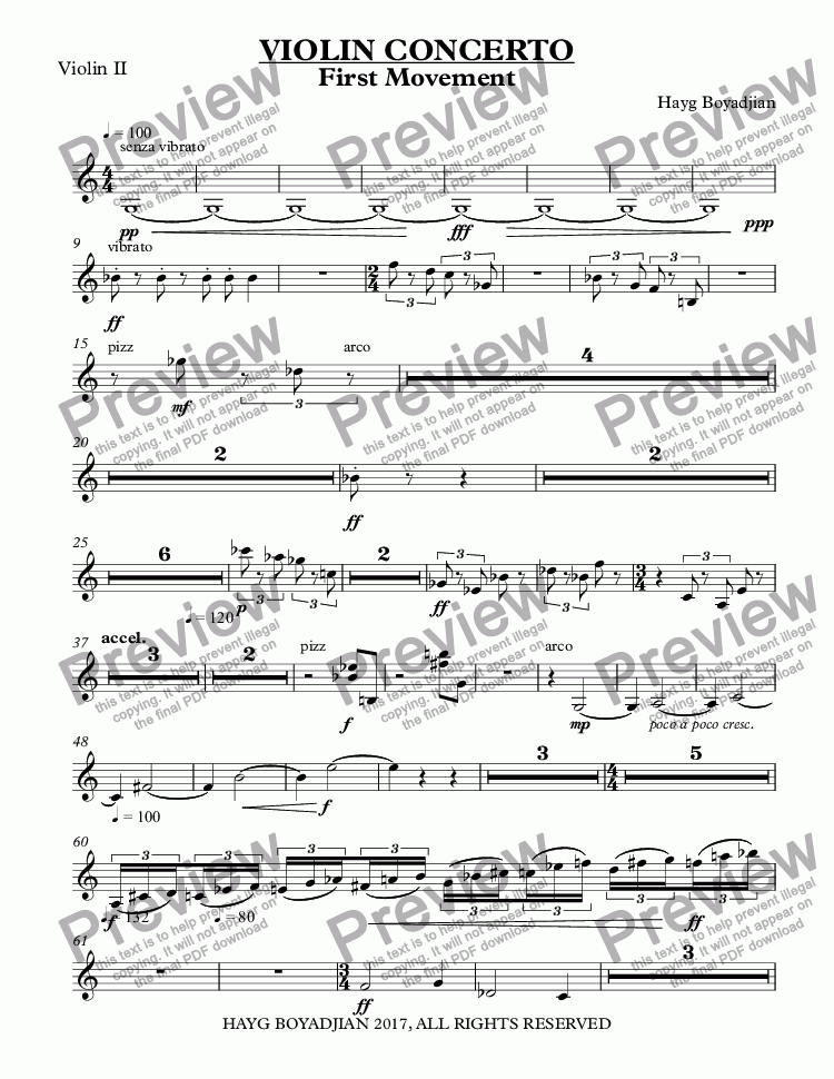 page one of the Violin II part from VIOLIN CONCERTO