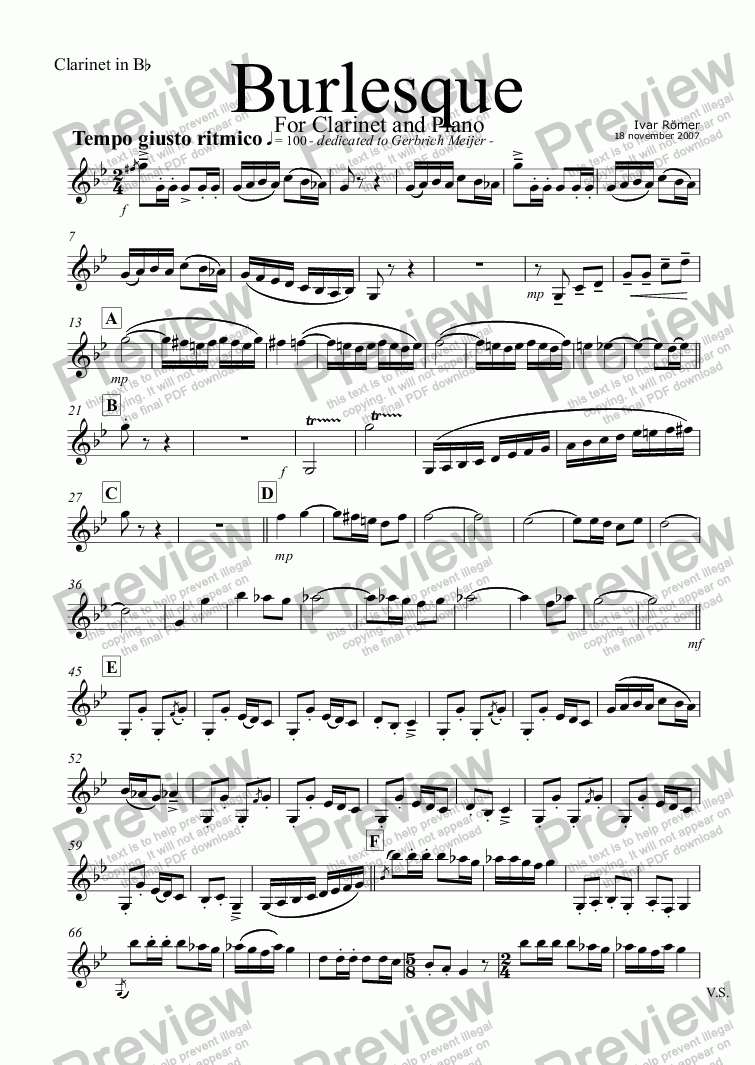 page one of the Clarinet in B^b part from Burlesque, for clarinet and piano