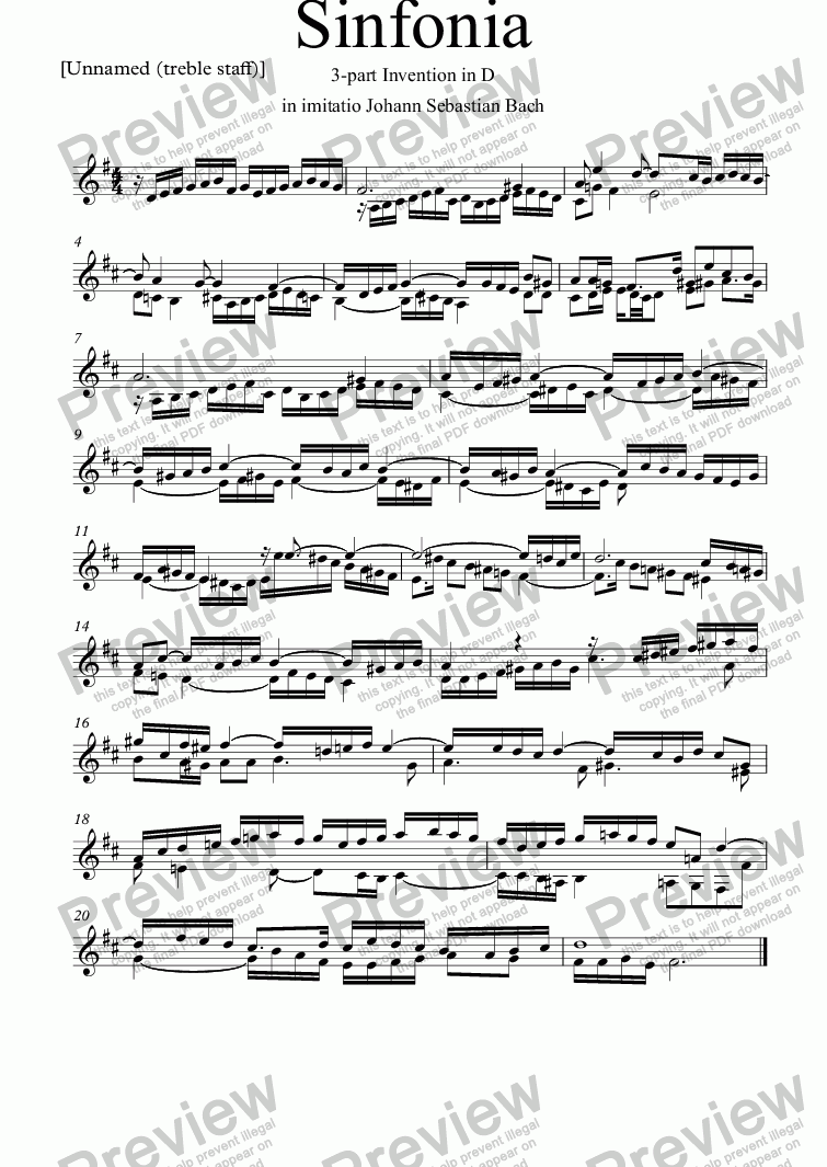 page one of the [Unnamed (treble staff)] part from Sinfonia XVI for piano or Hapsichord