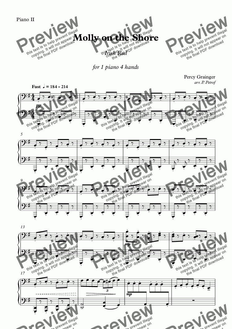 page one of the Piano II part from Percy Grainger - Molly on the Shore - piano 4 hands