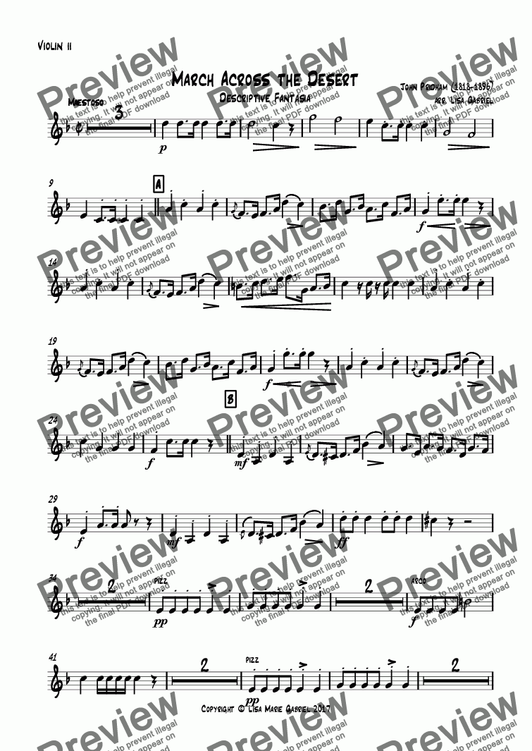 page one of the Violin ii part from March Across the Desert