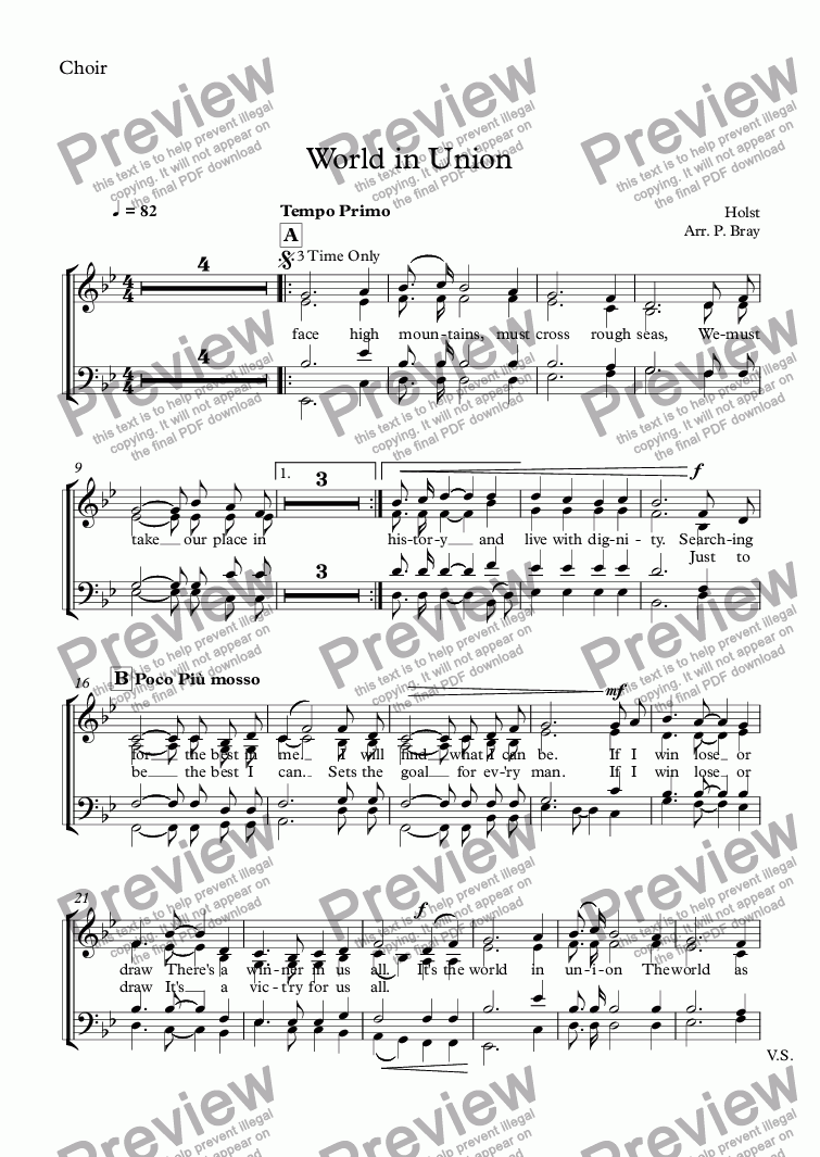 page one of the Choir part from World in Union