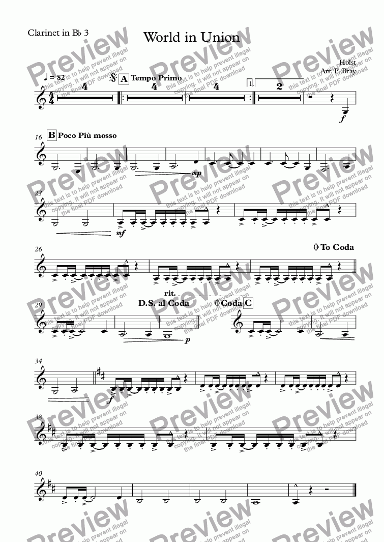 page one of the Clarinet in B^b 3 part from World in Union