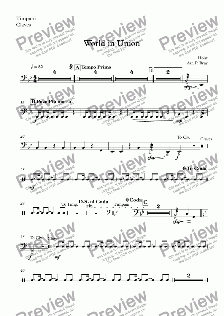page one of the Timpani, Claves part from World in Union