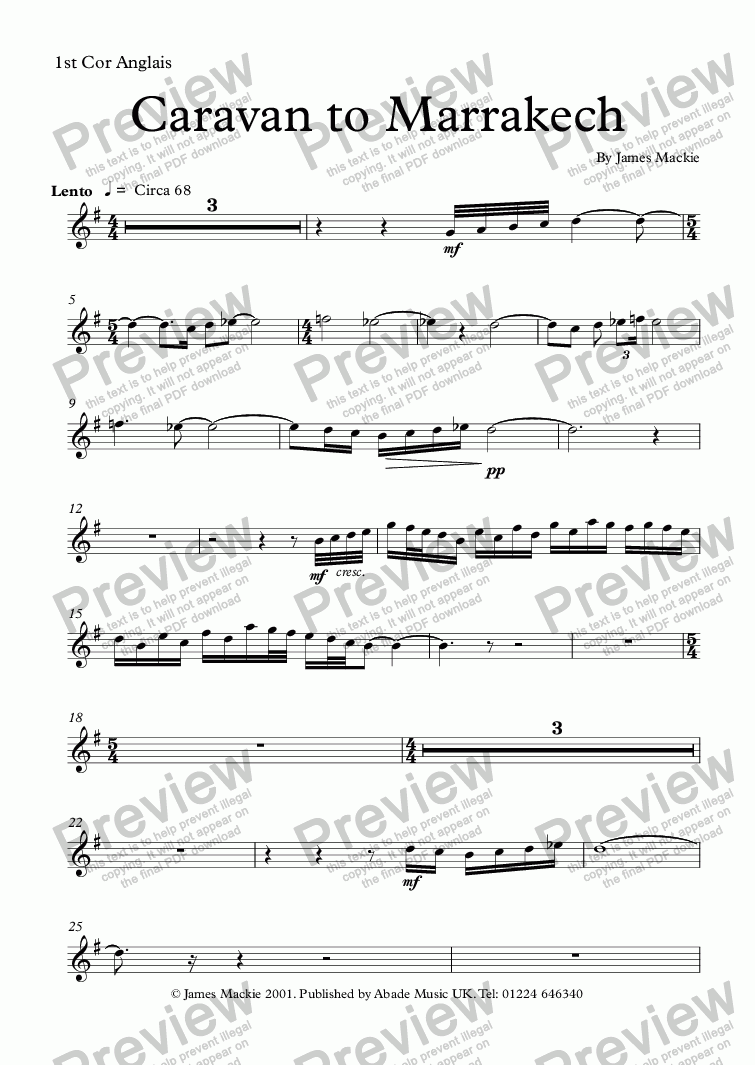 page one of the 1st Cor Anglais part from Caravan to Marrakesh