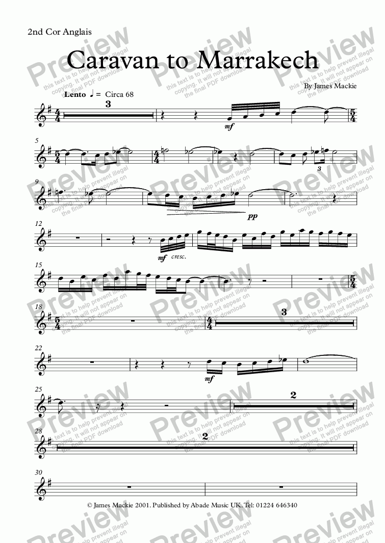 page one of the 2nd Cor Anglais part from Caravan to Marrakesh