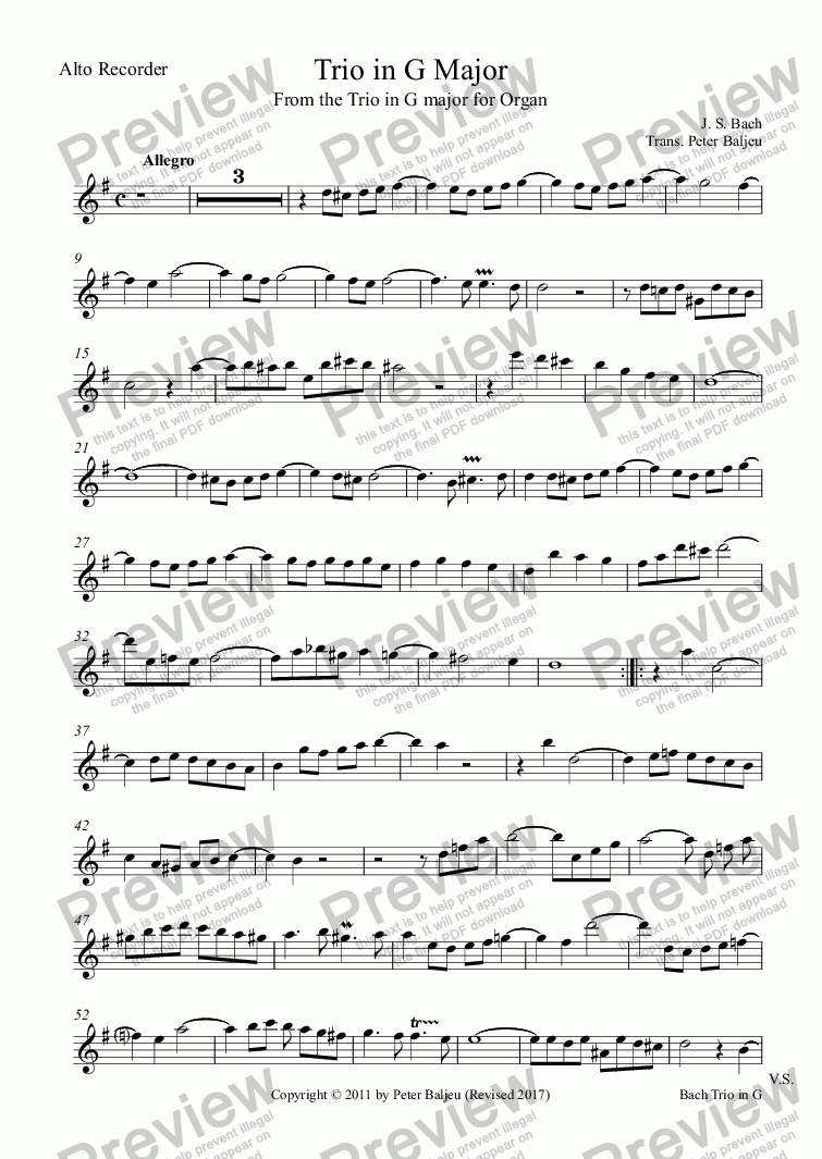page one of the Alto Recorder part from Bach Trio in G Major for ATB or ATT Recorders