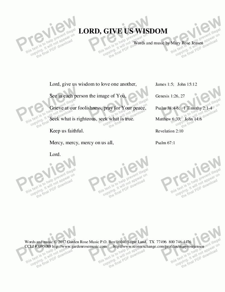 page one of the Lyrics - Lord, Give Us Wisdom (with scripture references) part from Lord, Give Us Wisdom (A Prayer)  6-part round