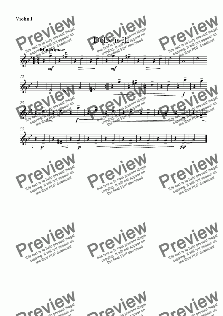 page one of the Violin 1 part from Dolly is Ill - Download sheet music