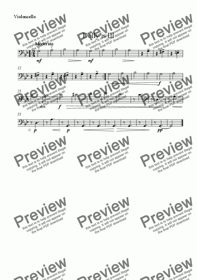 page one of the Cello part from Dolly is Ill - Download sheet music