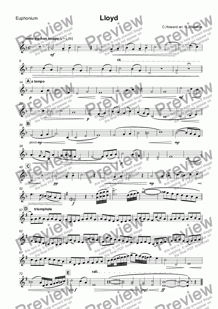 page one of the Euphonium part from Lloyd