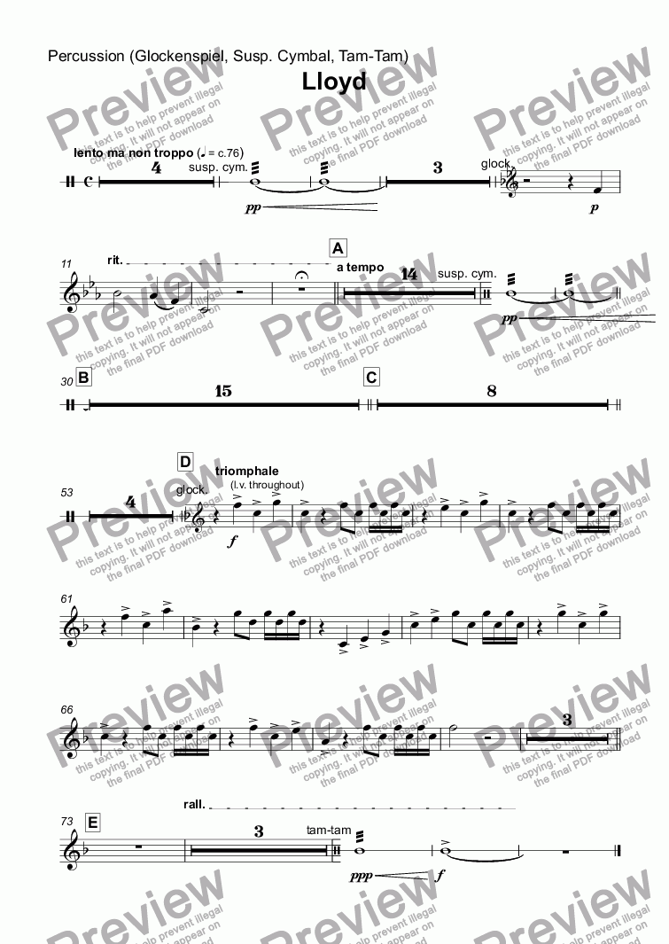page one of the Percussion (Glockenspiel, Susp. Cymbal, Tam-Tam) part from Lloyd