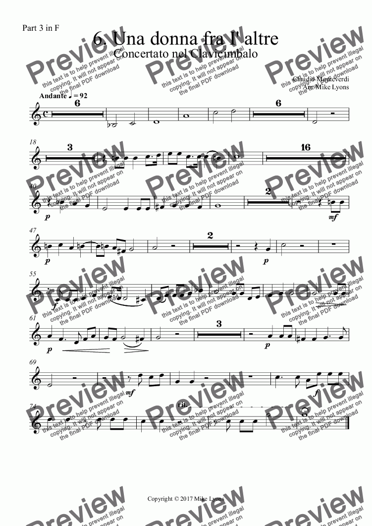 page one of the Part 3 in F part from Brass Quintet - Monteverdi Madrigals Book 6 - 06. Una donna fra I' altre