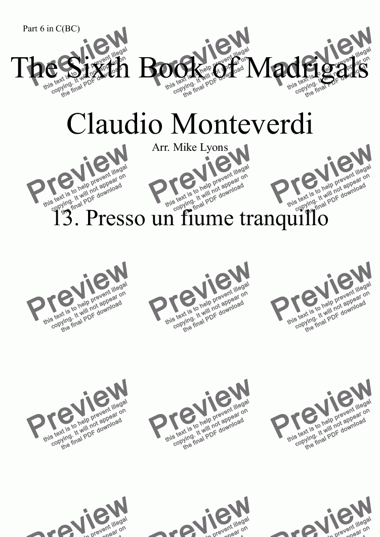 page one of the Part 6 in C(BC) part from Brass Quintet - Monteverdi Madrigals Book 6 - 13. Presso un fiume tranquillo