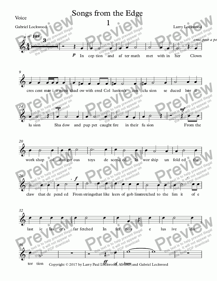 page one of the Voice part from Songs from the Edge 5 songs for voice & keyboard