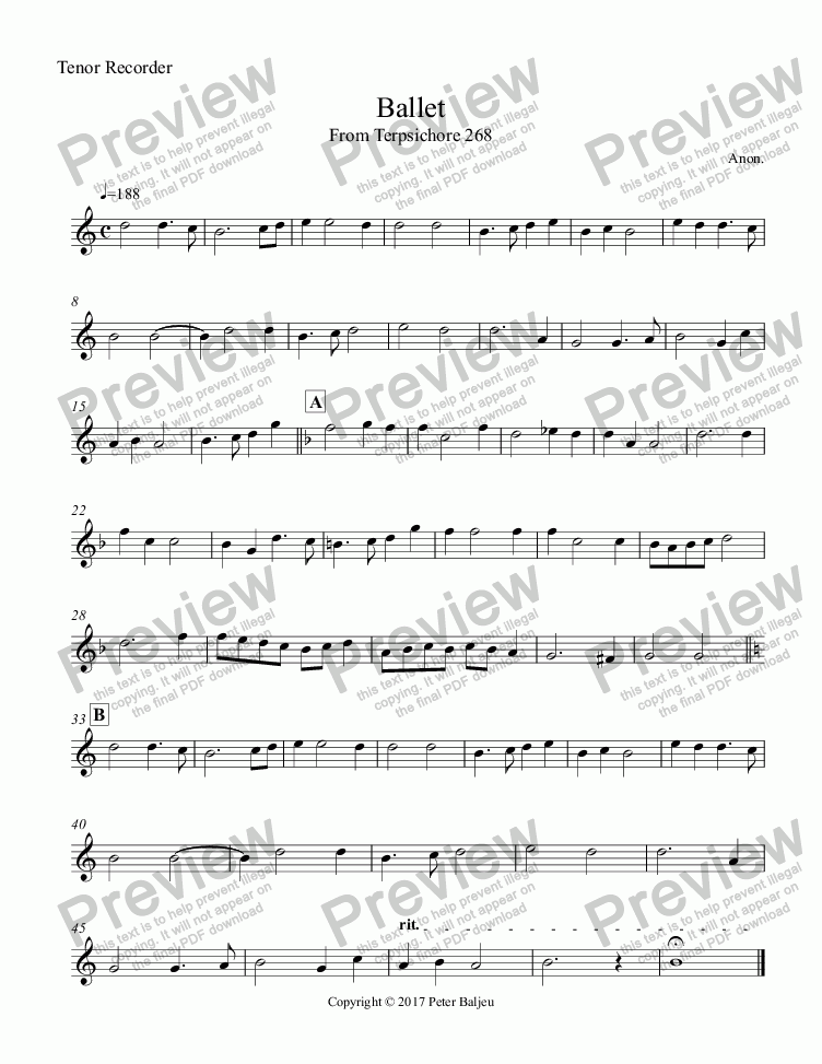 page one of the Tenor Recorder part from Terpsichore 6 Dances for Recorder SSATB