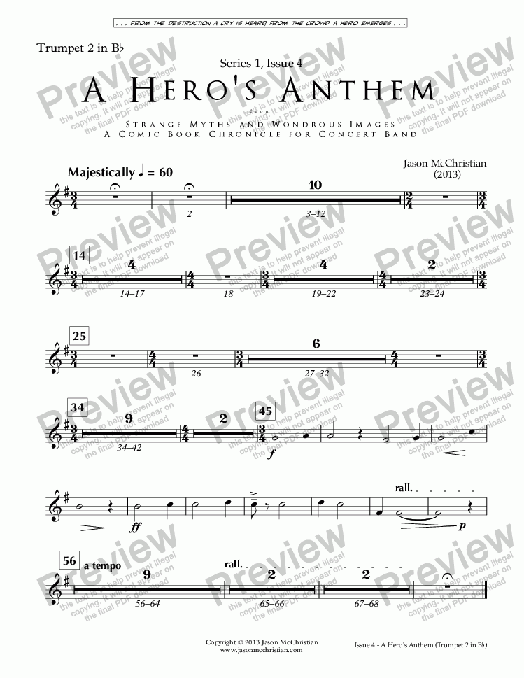 page one of the Issue 4, A Hero's Anthem - Trumpet 2 in Bb part from SERIES 1, ISSUE 4, A HERO'S ANTHEM from STRANGE MYTHS AND WONDROUS IMAGES - A COMIC BOOK CHRONICLE FOR CONCERT BAND - Full Score and Parts