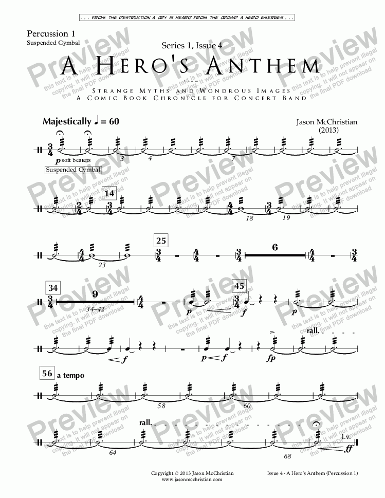 page one of the Issue 4, A Hero's Anthem - Perc. 1 part from SERIES 1, ISSUE 4, A HERO'S ANTHEM from STRANGE MYTHS AND WONDROUS IMAGES - A COMIC BOOK CHRONICLE FOR CONCERT BAND - Full Score and Parts
