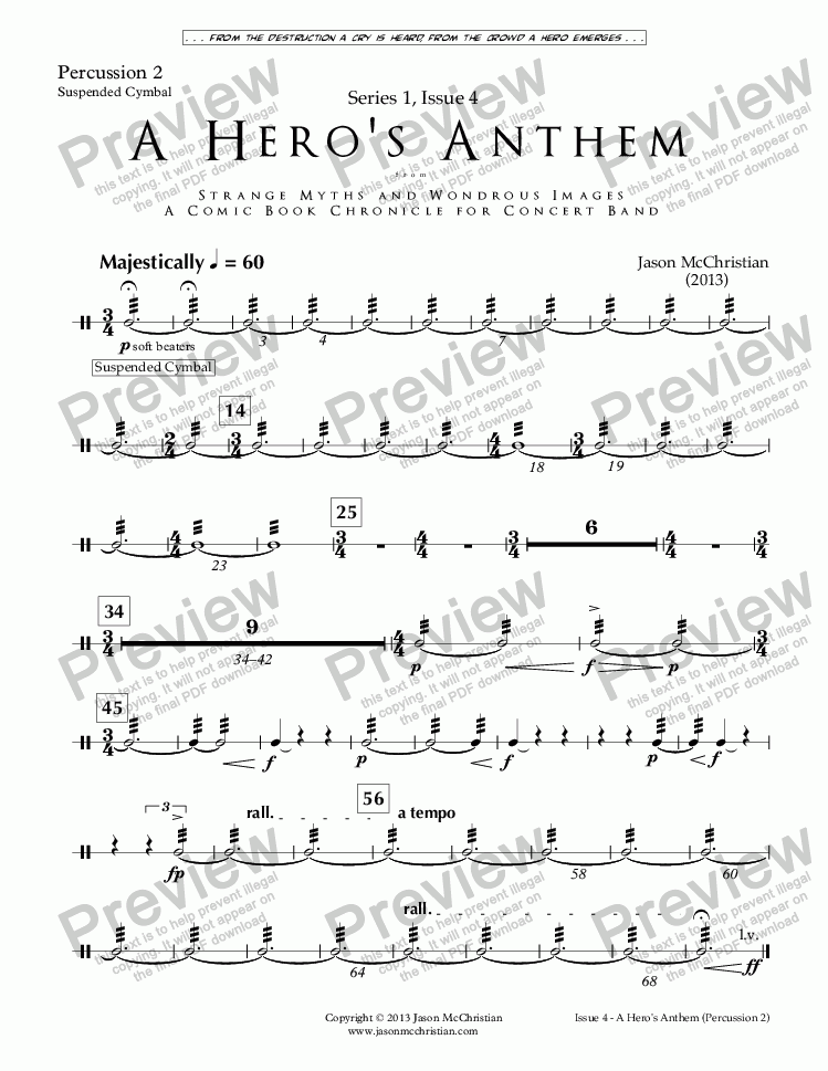 page one of the Issue 4, A Hero's Anthem - Perc. 2 part from SERIES 1, ISSUE 4, A HERO'S ANTHEM from STRANGE MYTHS AND WONDROUS IMAGES - A COMIC BOOK CHRONICLE FOR CONCERT BAND - Full Score and Parts