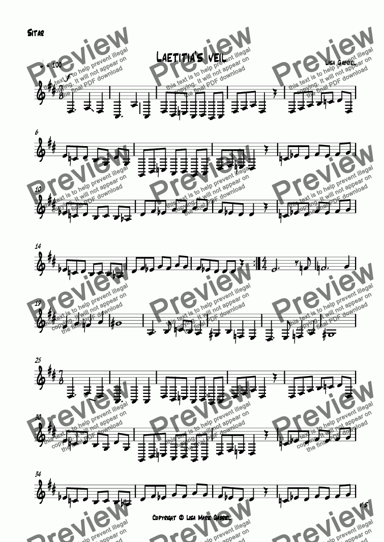 page one of the Sitar part from Laetitia's veil