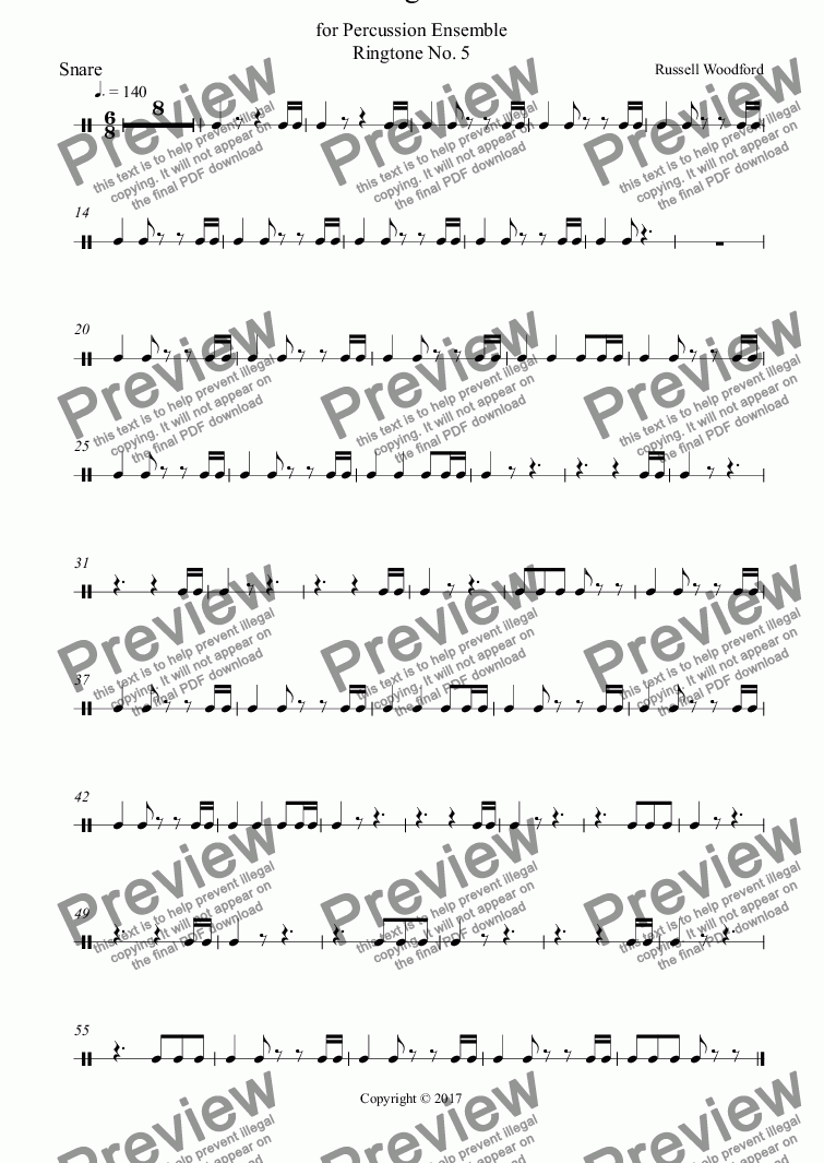 page one of the Snare part from Ringtone 5