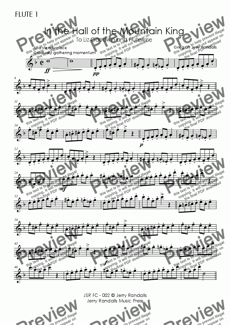 page one of the GRIEG Hall of the Mountain King - FC 001 Flute 1 part from GRIEG In the Hall of the Mountain King - Flute Choir